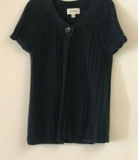 St Johns Bay Open Front Cardigan Sweater Short Sleeve - Size S - Black