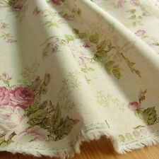 1 METER Vintage Style Linen blend FABRIC Rose Flowers Shabby Chic Ivory