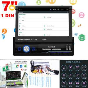 "7"" 1 DIN HD Flip Up Screen GPS Navigation Car Stereo Player Radio BT Mirror Link"