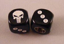 Punisher Skull BMX Dice Valve Caps - Black / White