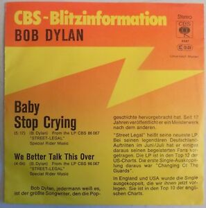 Bob Dylan - Baby Stop Crying - 1978 - Germany - Promo 45 - Promo Sleeve - New