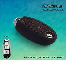 KeyZone Silicone Smart Key Cover for Ciaz, S-Cross, Baleno, Swift, Dzire (Black)