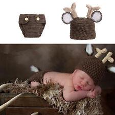 Newborn Baby Girl Boy Crochet Knit Costume Photography Prop kId Outfit Xmas Deer