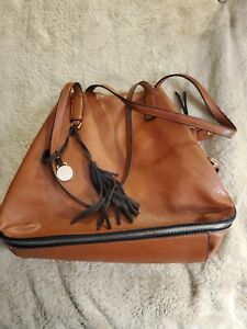 UNBRANDED brown FAUX? leather X-LG  purse bag SOFT MANY COMPARTMENTS & ZIPPERS!