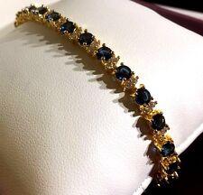 "GB Blue 4mm sapphire & diamantes 7.2""  tennis bracelet 18k gold GF BOXED Plum UK"