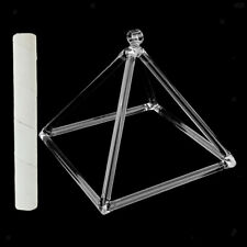 "Quartz Crystal Singing Pyramid D Note Sacral Meditation Relax 8""+Suede Stick"