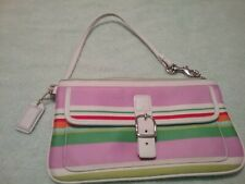 Coach Multi-Color Striped Canvas/Leather Trim Wristlet Clutch