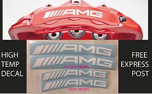 AMG BRAKE CALIPER DECAL HIGH TEMP (12.5cm & 10cm) White Curved Sticker Set x 4