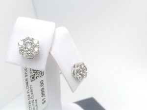 $2000 WOW 1/2CTTW CT REAL Diamond HALO FLOWER Stud Earrings SOLID WHITE Gold!