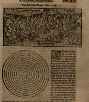 Crete Labyrinth Greece Aegean 1598 Munster Cosmography wood cut map print
