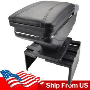 Car Armrest Storage Box PU Leather Rotatable Arm Rest Center Console