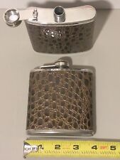 6 oz STAINLESS STEEL Hip FLASK with Brown Faux Leather Wrap and Screw Down Cap