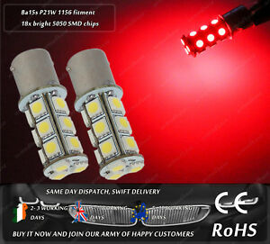LED Ba15s P21W 1156 Strobe Red Flash Police Stop Bulbs Lamps Rear Tail Lights