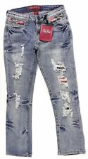 Red Rivet Womens Distressed Cropped Jeans Capri Sz 0 1 Light Wash Destroyed
