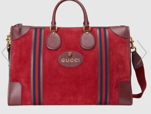 New Gucci Large Ophidia Travel Duffle Shoulder Bag. Bordeaux Suede. Extra Large