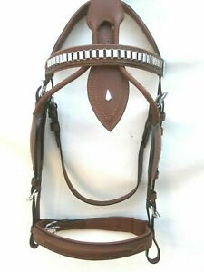 Single Horse Driving Leather Tan Bridle Harness With Silver Fitting