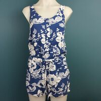 Levi's XS Playsuit Romper Blue & White Floral Drawstring Waist Sleeveless