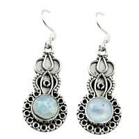 Natural Rainbow Moonstone 925 Sterling Silver Dangle Earrings D15541