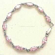 "White Gold Bracelet Pink Marquise Sapphire & Sim Diamond 7"" 18ct GF Plum UK BOXD"