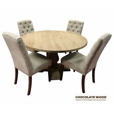 UTAH Solid Mango Wood round dining table + 4 Meloda fabric chairs (Dia 135cm)