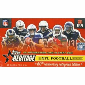 2015 Topps Heritage Football Factory Sealed Box 1 Auto Autograph 11 Cards (Qty)