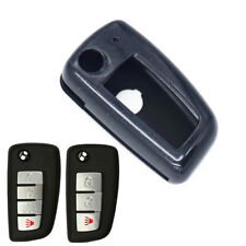 Black Paint Plastic Remote Flip Key Case Cover Chain for Nissan Rogue KBRASTU15