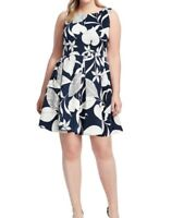 Just Taylor Dresses Sleeveless Scuba Fit And Flare Dress In Leaf Print Size16W