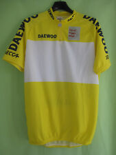 Maillot cycliste DECCA Circuit Franco Belge Daewoo Jaune Vintage - L