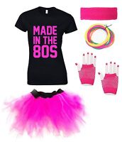 MADE IN THE 80s Ladies T-Shirt Outfit Fancy Dress Costume Neon Tutu 80's Gloves