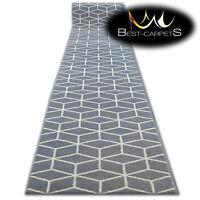 Modern Hall Carpet Runner BCF BASE grey CUBE Stairs 60-120cm extra long RUGS