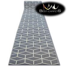 Modern Hall Carpet Runner Bcf Base Grey Cube Stairs 60 120cm Extra Long Rugs