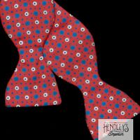 Vintage TURNBULL & ASSER Bowtie Cerulean Blue White Dots Tomato Red Silk ENGLAND