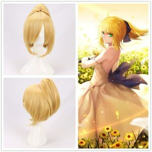 Fate/stay night Manga Saber Arturia Pendragon cosplay Wig with one clip ponytail