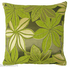 "BRIGHT GREEN SILVER GREY THICK CHENILLE FLORAL SPARKLY CUSHION COVER 17"" - 43CM"