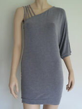 HONEY & BEAU NWOT Unusual Grey Stretchy Tunic Top Short Batwing Dress sz 8 XS  I