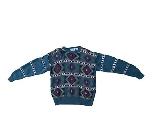 Norm Thompson Hand Knitted Sweater Medium 1980 1990's Coogi Style Men's Women's