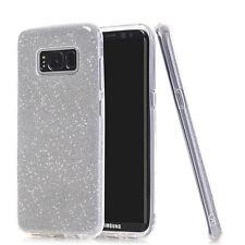 COVER Custodia Glitter Morbida TRASPARENTE Silicone per Samsung Galaxy S8 SILVER