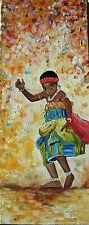 """Peinture de CARIN 50 x 20 cm """"la dance"""" enfant afrique"""