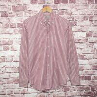 CANALI 1934 Italy Men's Luxury Button Front Shirt Red Striped Cotton Size Small