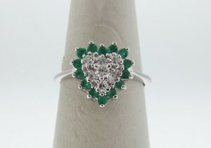Natural Green Emeralds Genuine Diamonds (VS) HEART Solid 14K White Gold Ring FRE