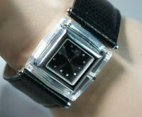 Authentic SWAROVSKI Swan Crystal Bezal Swiss Black Leatheer Buckle Band Watch