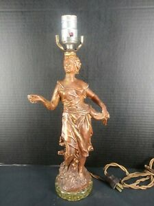 Antique Victorian  Classical Figural  Spelter Metal Lamp AS IS