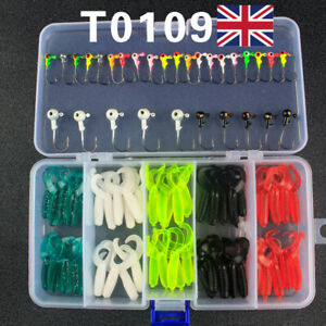 80Pcs Fishing Soft Bait Lures Curly Tail Grub Worm Baits Jig Heads Perch Tackle