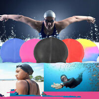 Unisex Women Men Polyester Silicone Swimming Cap Pool Hat Plain Fitness Solid