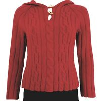 Old Navy Women's/Juniors Sweater Size XL Toggle Button Wool Cable Knit Red