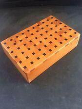 Fabuloso madera con incrustaciones de marquetería parqué de madera joyería caja de la baratija 3