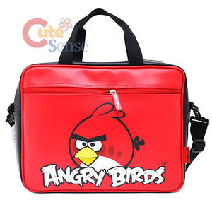 Rovio Angry Birds Fuax Leather Messenger Bag / Briefcase :Red Bird Logo Licensed