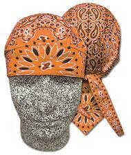 Orange Paisley Bandanna Sweatband Head Wrap Durag Capsmith Biker