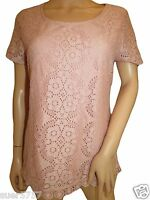 NEW Ex M&S Per Una Pink Broderie Anglaise Lace Casual Summer Top Size 10 - 22