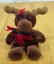 """Just Friends MOOSE WITH RED & GREEN SCARF 7"""" Plush Stuffed Animal"""